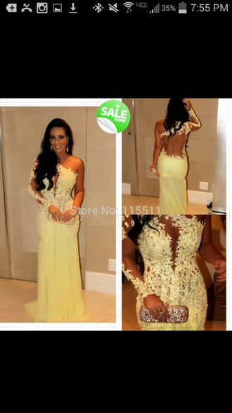dress yellow formal evening lace floral pageant dresses