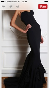 dress,black dress,black,long,dark,clothes,evening outfits,party,black with slit,bodycon dress,sexy,strapless dress,long dress,maxi dress,lobe,evening dress,prom dress,red dress,designer gown,prom,strapless,mermaid prom dress,formal,no pattern,classic,formal dress,formal black dress,formal party dresses,sleeveless dress,long prom dress,sweatheart neckline,classy,classy dress,wedding dress,gown