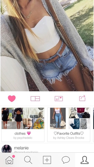 shirt crop tops outfit cardigan high waisted shorts high waisted jeans