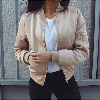 jacket bomber jacket nude beige gold pink summer