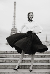 shoes,skirt,top,midi skirt,french,black and white