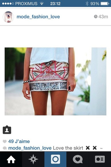 skirt aztec print skirt strass skiny followforfollow colorful skirt aztec patern