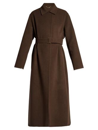 coat wool coat long wool brown