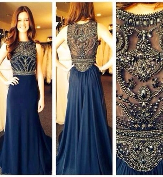 dress gown prom floor length navy prom dress