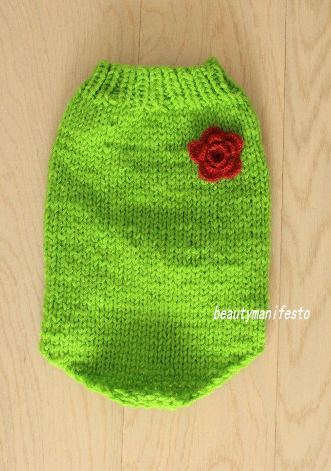 Grass green dog sweater./flower/bow tie