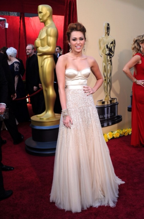 dress bustier dress cream dress prom dress miley cyrus