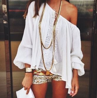blouse white top off the shoulder top lace top shorts peasant top jewels shirt top boho hippie