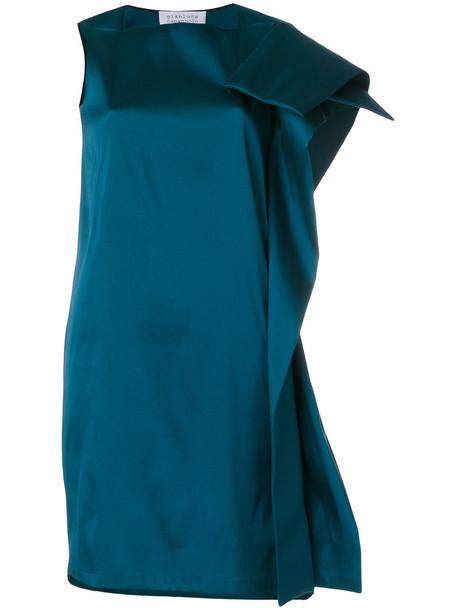 dress one shoulder dress women spandex green