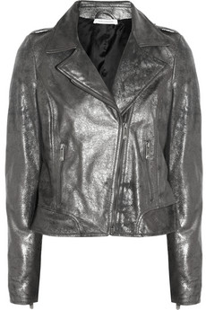 Metallic coated-leather biker jacket | THE OUTNET