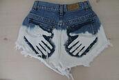 shorts,bleached,handprints,cut offs,funny,summer,jeans,lee jeans