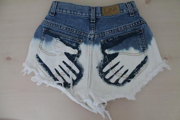 High waisted shorts half bleached half denim traced by GalaxyCakes