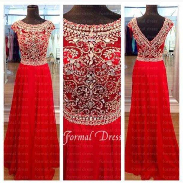 dress red prom jewels