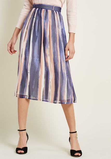 MCB1375 Your chic narrative begins with this chiffon midi skirt. You tell us where it goes next! Part of our ModCloth namesake label, this flowy bottom boasts navy, dusty rose, black and white painterly stripes, a high waist with belt loops on the front 'n' an el