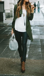 coat,army green,green coat,white blouse,jewels,chain,brown shoes,cardigan,clothes,girl,fashion,style,outfit,green,white,top,blouse,shirt,brown,bag,green cardigan,oversized cardigan,knitted cardigan,long cardigan,white top,white shirt,black pants,black high waisted pants,leather pants,black leather pants,accessories,necklace,shoes,boots,ankle boots,brown boots,brown leather boots,grey bag,bags and purses,jacket,khaki,casual,army green jacket