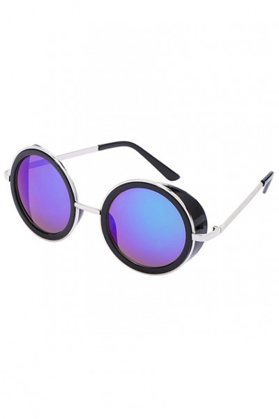 KCLOTH Blue Lenses Black Round Sunglasses