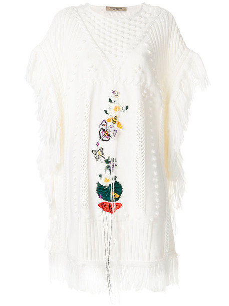 PICCIONE.PICCIONE poncho embroidered women white top