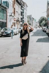 dress,midi dress,black dress,sandals