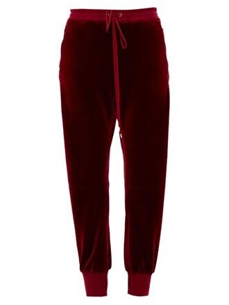 drawstring velvet burgundy pants