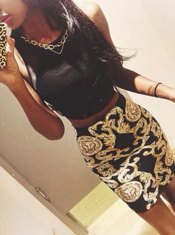 skirt gold bodycon dress medium gorgeous top mesh versace