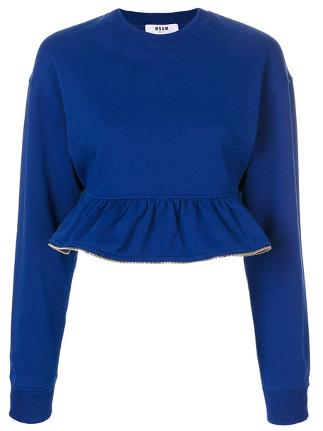 MSGM jumper cropped zip women cotton blue sweater
