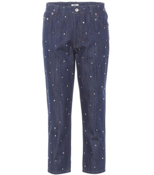 Miu Miu jeans cropped jeans cropped embellished blue