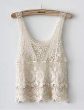 shirt,lace top,lace,lace flowy top,cream top,tank top,cream,top,love,tumblr,cute,lace tank top,white,white tank top,white lace,scalloped shirt,scalloped lace,lace scalloped,sweet,girly,trendy,chic,white crop tops,pale,blouse,ivory,crochet top,white crochet top,hot,beautiful,summer,beach,woven top,kant