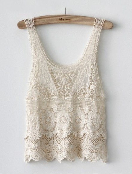 blouse tank top top crochet top ivory shirt lace top lace lace flowy top cream top cream tank love tumblr cute white lace tank top white tank top white lace scalloped shirt scalloped lace lace scalloped sweet girly trendy chic white crop top lace, cute, cream, pale, girly white crochet top