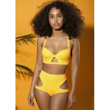 Sexy Cut-out Backless Crossed High Waist Solid Yellow Two-piece ...