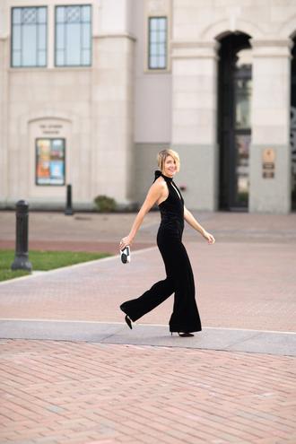 style archives - seersucker and saddles blogger jumpsuit shoes jewels bag black jumpsuit clutch high heel pumps high heels