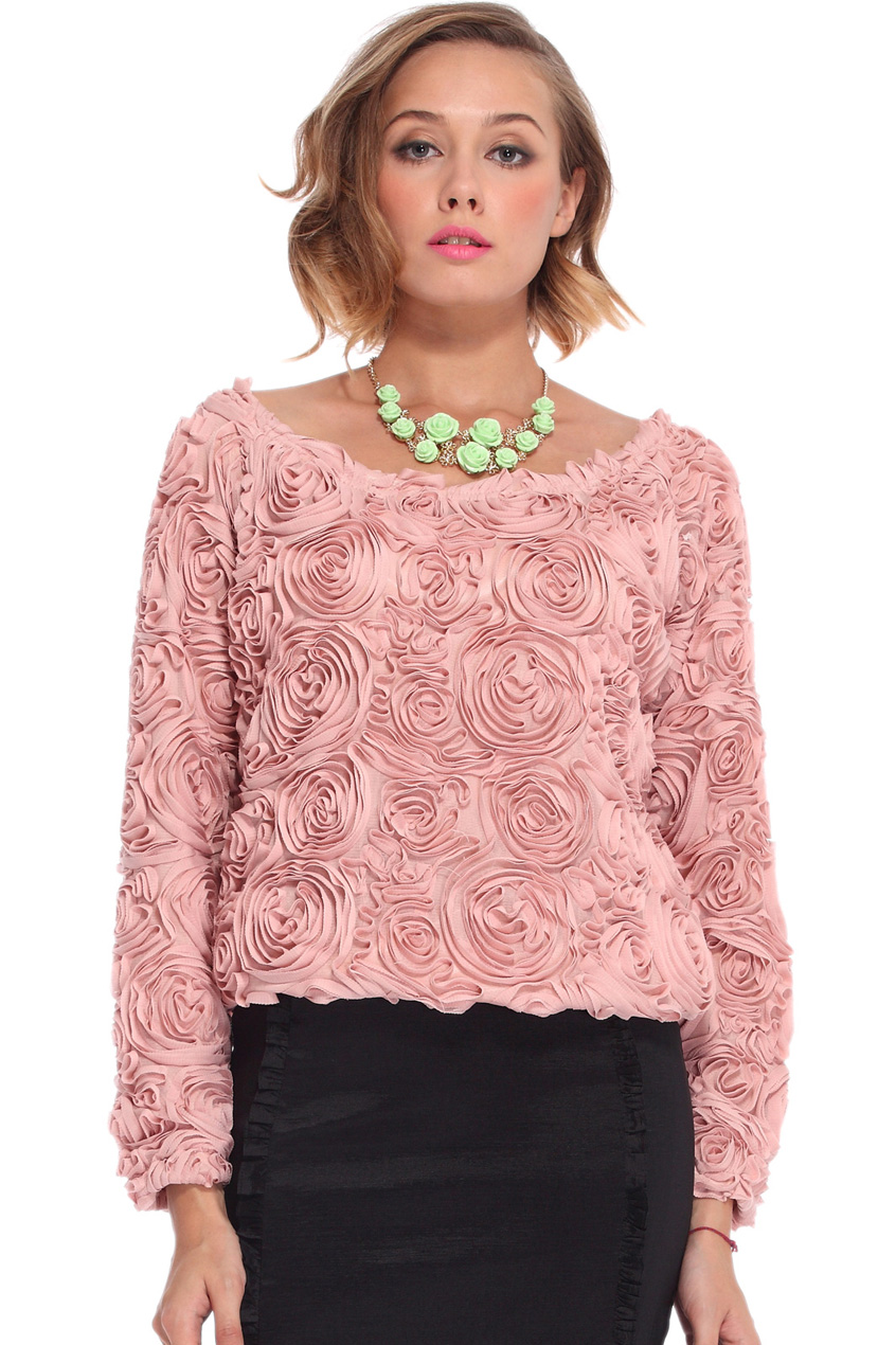 ROMWE | Flowery Pink Chiffon Blouse, The Latest Street Fashion