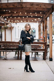 bows&sequins,blogger,sweater,skirt,shoes,bag,jewels,fall outfits,winter outfits,boots,over the knee boots,bell sleeves,black sweater,bell sleeve sweater,shoulder bag,mini skirt