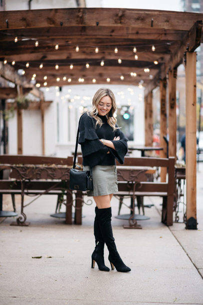 bows&sequins blogger sweater skirt shoes bag jewels fall outfits winter outfits boots over the knee boots bell sleeves black sweater bell sleeve sweater shoulder bag mini skirt