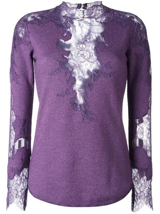 top knitted top women lace silk wool purple pink