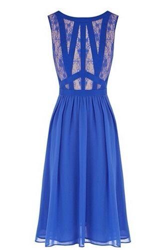 Oasis Ellen Lace Midi Dress Cobalt Blue Size 12 | eBay