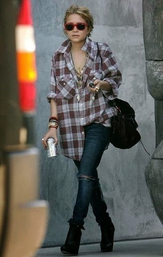 flannel shirt plaid shirt mary kate olsen oversized grunge boots jewelry grunge jewelry layered necklace jewels