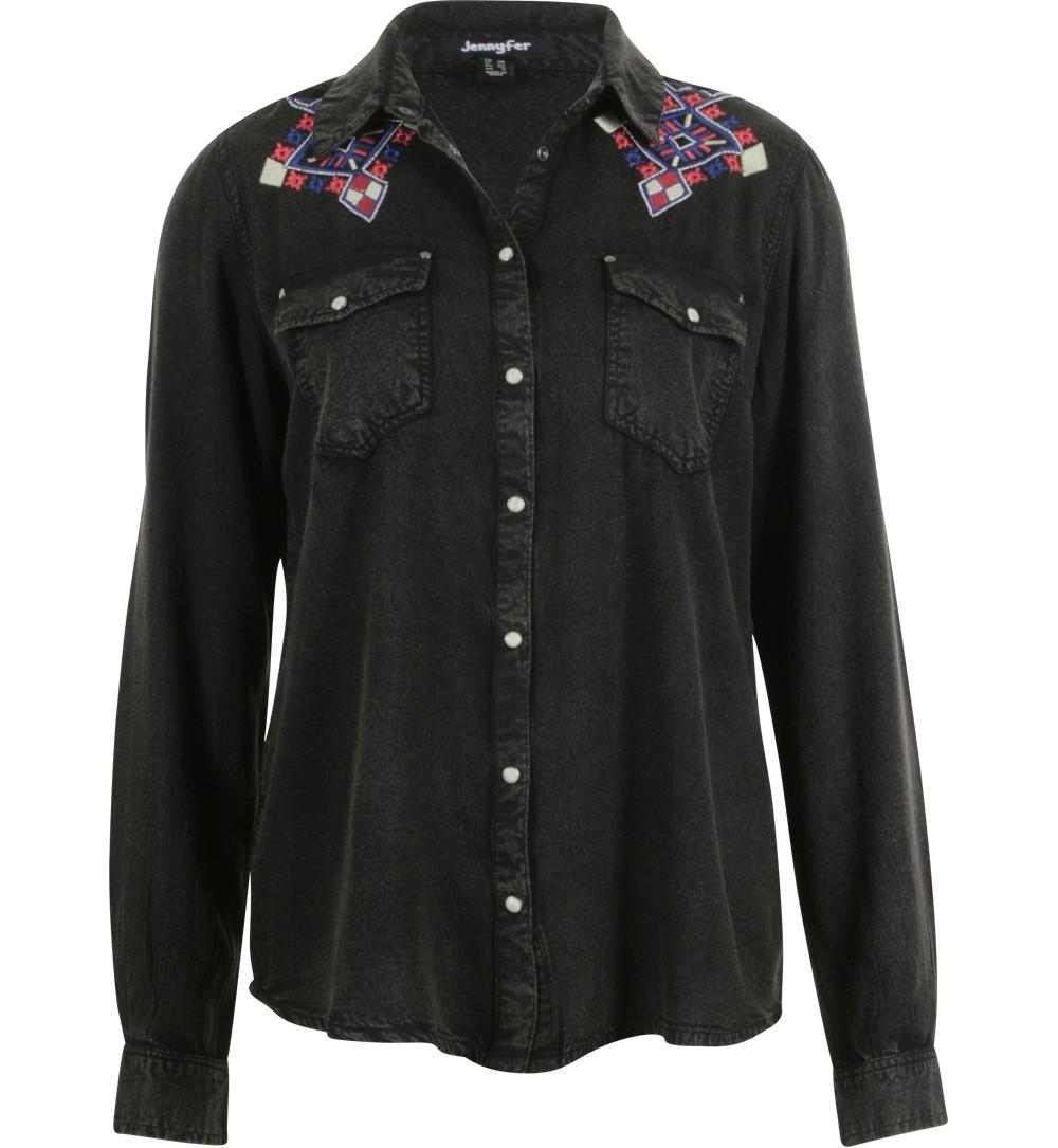 chemise grise broderies aztèque  - chemises Jennyfer