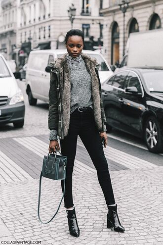 sweater tumblr fashion week 2017 streetstyle grey sweater turtleneck turtleneck sweater jacket army green jacket hooded jacket parka bag green bag jeans black jeans skinny jeans black skinny jeans boots black boots ankle boots patent shoes patent boots striped turtleneck androgynous equality