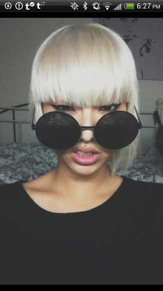 sunglasses round black retro glasses sunnies