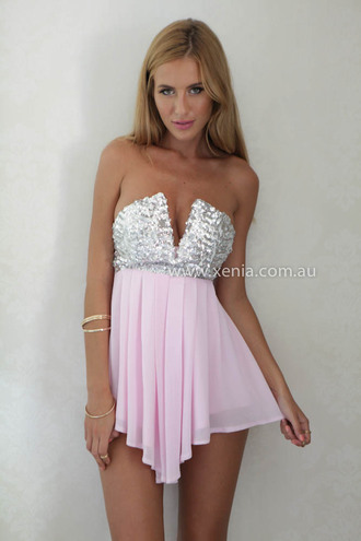 dress strapless dress baby pink party dress party outfits sequin dress xeniaboutique
