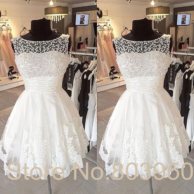 Aliexpress.com : Buy White Short Wedding Dress Sheer Neckline With ...