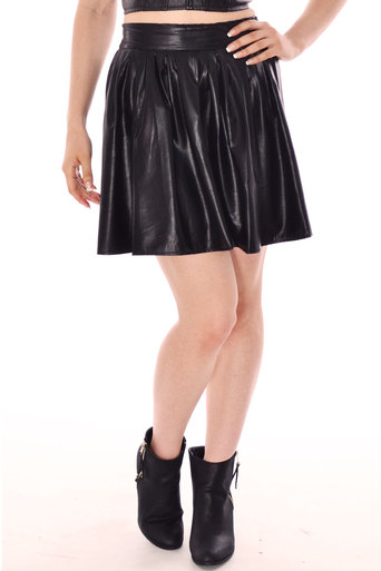 Womens Actia Pu Leather Look Flared Skirt In Black