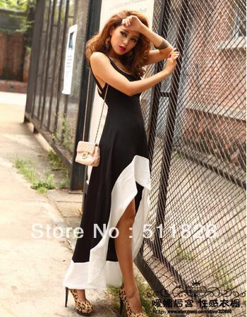 2014 Sexy Women/Lady Deep U Neck Bare Back Backless Dress Hem Tank Swallow Tail Sleeveless Summer Long Dress free shipping 5334 | Amazing Shoes UK