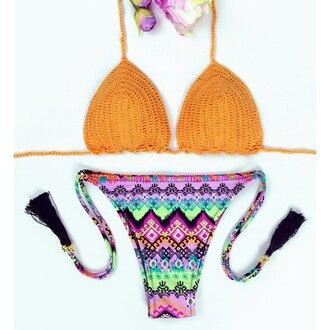 swimwear bikini orange beach summer hot trendy colorful pattern rose wholesale-feb