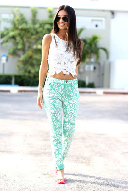the material girl top jeans shoes sunglasses jewels tropical floral palm tree print