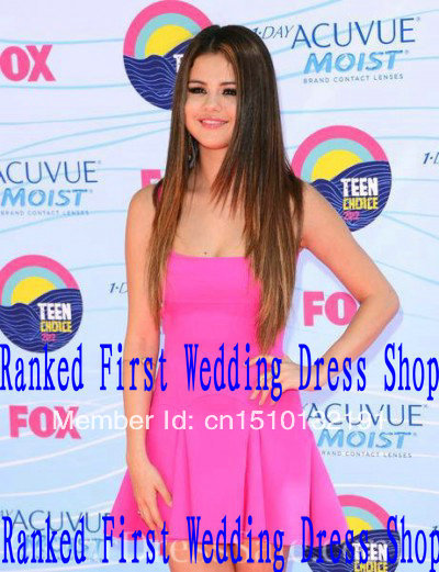 Free Shipping selena gomez A line Scoop Spaghetti Strap Sleeveless Mini Chiffon Celebrity dresses new fashion 2013 RT 0030-in Celebrity-Inspired Dresses from Apparel & Accessories on Aliexpress.com