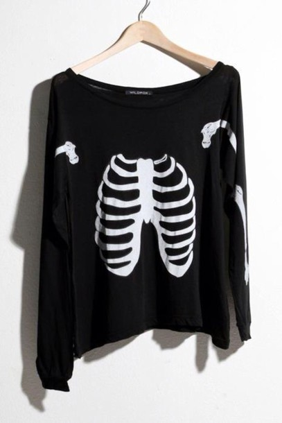 shirt black and white rib cage skeleton grunge soft grunge