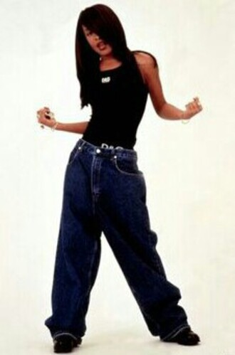 jeans old jeans vintage jeans baggy 90s style aaliyah photoshoot old blue jeans