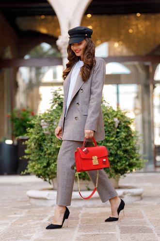 jacket grey pants tumblr blazer grey blazer pants matching set pumps pointed toe pumps bag red bag