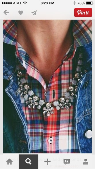 shirt plaid shirt red blue statement necklace necklace rustic chambray jewels