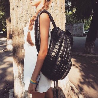 bag fusion clothing backpack quilted quilted bag quilted backpack tree look outfit girl black black backpack black bag rucksack style black rucksack blonde hair teenagers summer